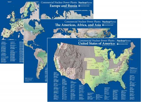 2019 Nuclear News 3-Map COMBO #1 of United States and Both Worldwide Commercial Nuclear Power Plants Wall Maps