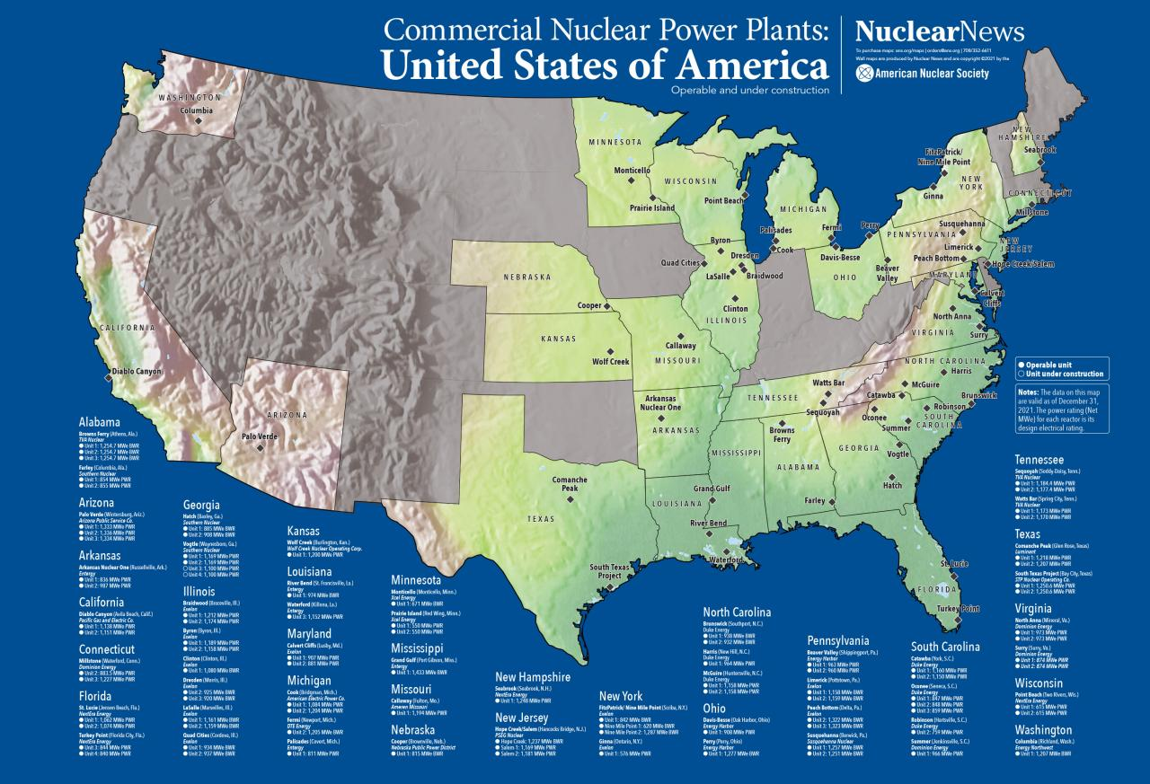 2019 Nuclear News Wall Map Of United States Commercial Nuclear Power - Nuclear-map-us