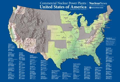 2019 Nuclear News Wall Map of United States Commercial Nuclear Power Plants
