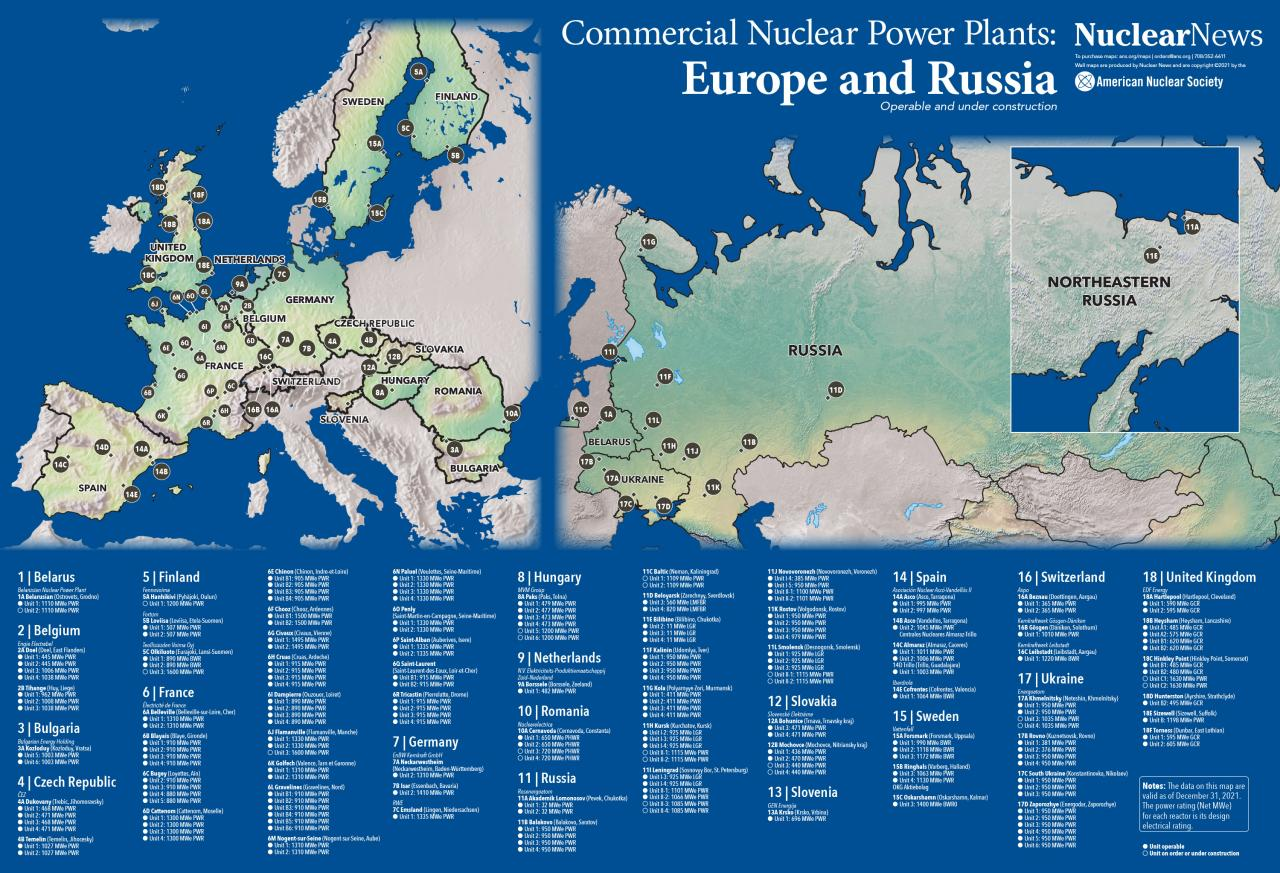 Nuclear News Worldwide Wall Map Of Europe And Russia - Where are the nuclear power plants in the us map