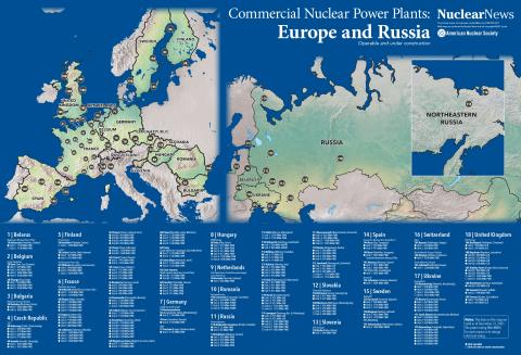 2019 Nuclear News Worldwide Wall Map of Europe and Russia Commercial Nuclear Power Plants