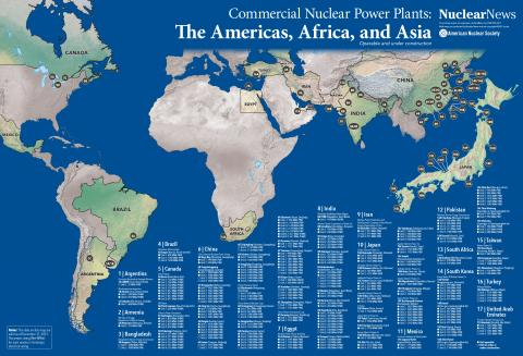 2019 Nuclear News Worldwide Wall Map of The Americas, Africa, and Asia Commercial Nuclear Power Plants